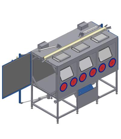 Blast cabinet with crane slot