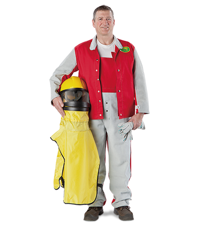 Clemco Strahlerhose und Jacke mit Lederbesatz