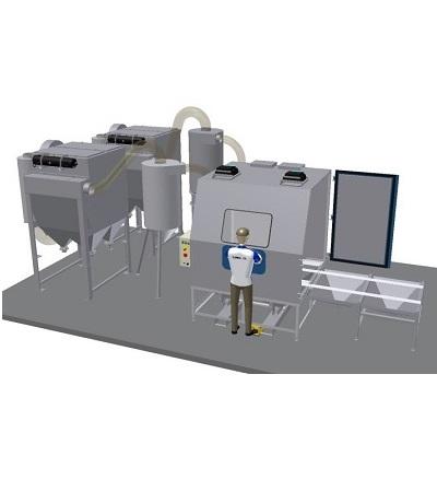 Strahlkabine für Solarpaneele