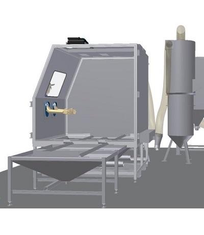 Blast cabinet for solar panels