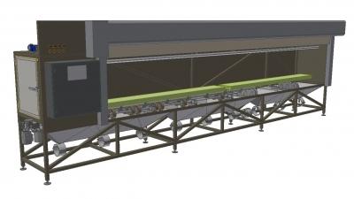 Gerüstrahlanlage mit Rolltor